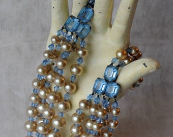 Vintage Pearl and Blue Rhinestone Necklace, Emerald Cut Rhinestones, 5 Strand, GS Hallmark, Faux Pearl, Glass Pearl, KC095