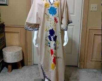 Yucatan Beach Dress/Long Kaftan Dress/Floral Dress /Summer Beach Wear / Bohemian Kaftan/Plus Size Dress/Maternity Kaftan /mexican Long Dress