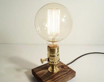 25% OFF SALE Industrial Lamp - Steampunk Lamp - Table Lamp - Edison Lamp - Vintage Light - Pipe Lamp - Bedside Lamp - Rustic Lighting - Loft