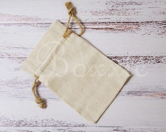 Linen fabric bag with hemp cord natural 4x6 inch set of 3