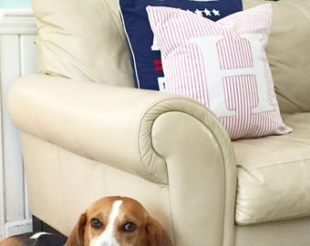 Initial pillow, Customizable pillow, Farmhouse pillow , Plaid pillow