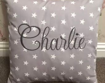 "Grey Star Personalised Machine Embroidered 16"" Cushion Cover - No Insert"