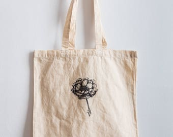 Coral Peonie / Hand illustrated organic cotton tote bag