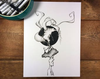 Mental Disarray - Pen and Ink Illustration 9x12 Original Art Surreal Portrait