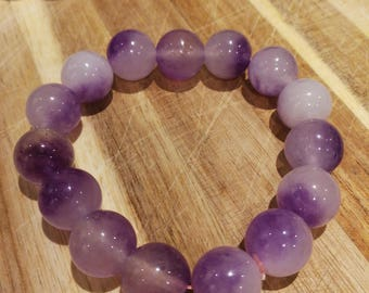 icy White and lavender  translucent Jadeite bead bangle, grade A icy