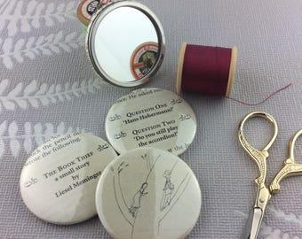 The Book Thief Handbag Mirror, Pocket mirror, Book page vanity mirror