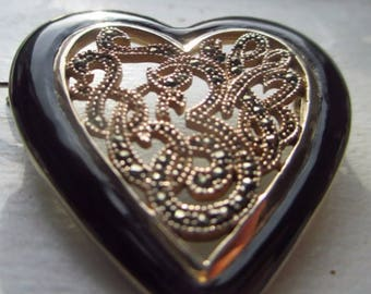 Large Sparkly Vintage Sterling Silver Gold Vermeil Heart Brooch Pin Pendant w/ Marcasite & Black Enamel