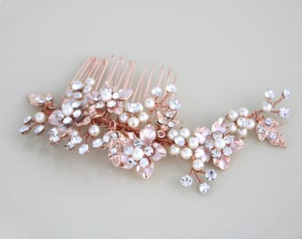 Rose Gold hair comb, Bridal hair comb, Rose gold headpiece, Wedding headpiece, Rose gold hair vine, Rhinestone hair comb, Crystal headpiece