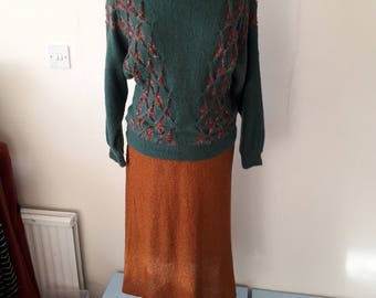 Vintage knitted green and rustic suit size 12