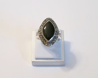 Sterling Silver, Marcasite and Onyx Ring