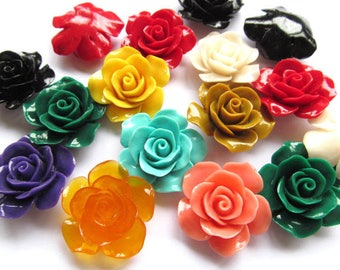 36mm  Assorted Dainty Resin Rose Cabochons green rose red petal charm jewelry 8pcs