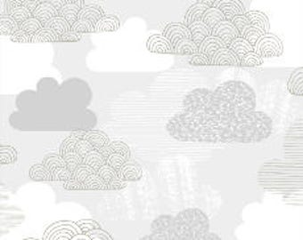 Fabric - Cloud 9 - Laminated cotton - Clouds on white