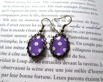 Earrings cabochon purple polka dot