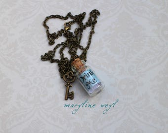"""""""Drink Me"""" bottle green turquoise necklace"""