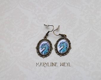Earrings Cabochon blue dragon