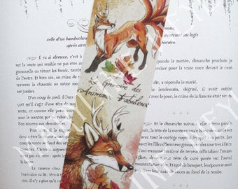 Red Fox bookmark and autumn leaves