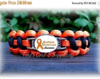SALE Multiple Sclerosis, MS Awareness Bracelet, Paracord Survival Bracelet, Women Bracelet, Ladies Bracelet, Girl Bracelet, Support Bracelet