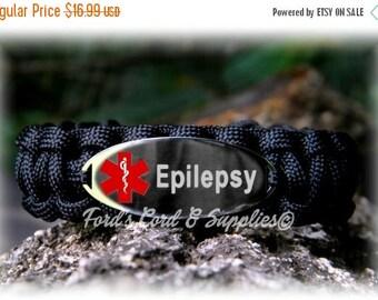 SALE Epilepsy Medical Alert Bracelet, Paracord Bracelet, Survival Bracelet with Laser Engraved Stainless Steel Tag, Waterproof