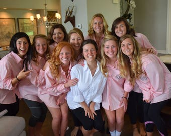 Monogrammed shirts, bride shirt, bridesmaid shirts, monogrammed button ups, wedding party shirts, bridal party shirts