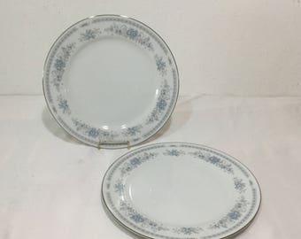 CHRISTINE by Sheffield Japan Dinner Plates SET of 2 Blue Floral Platinum Trim Pink flowers