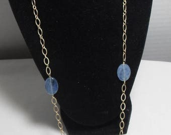 CLEARANCE Long Blue labradorite Necklace, Gold Filled chain, wire wrapped Blue gemstone necklace, High fashion Gift for her,  Gingerslittleg
