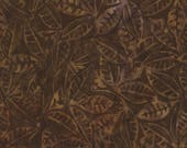 Textured Leaves Batik Fabric; B4022-Fudge; You Choose Size; Timeless Treasures; Tonga True Love; Daniela Stout; Leaf Batik
