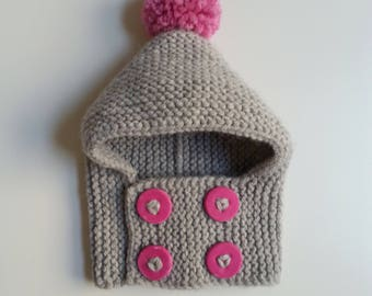 Hat(Cap) baby from 0 to 24 months hand-knitted woolen intoxicates(tints) with pink buttons and pompom