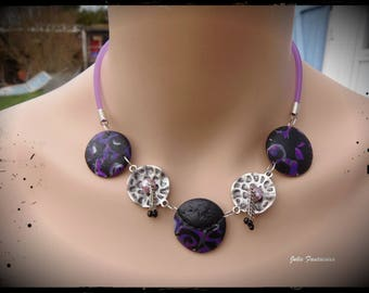 Purple Black Silver polymer clay necklace