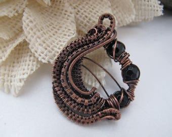 Handmade Copper Wire Wrapped Pendant Necklace with Black Beads