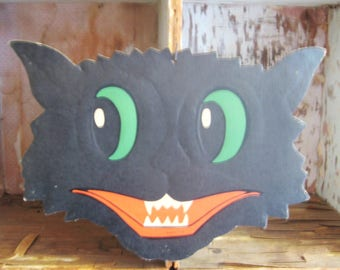 1940's Vintage Large Embossed Black Halloween Cat Decoration Made in USA
