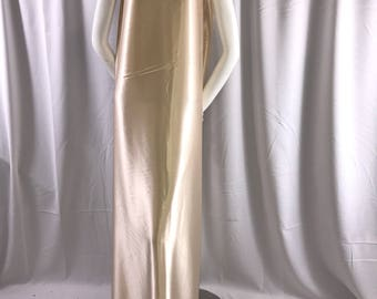 Champagne 58 inch 2 way stretch charmeuse satin-super soft silky satin-wedding-bridal-prom-nightgown-dresses-fashion-sold by the yard.