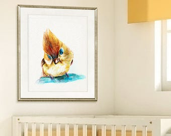 Nursery baby bird nursery art print, baby bird watercolor print, baby bird nursery, kids bird,  baby print, baby wall art  - R27