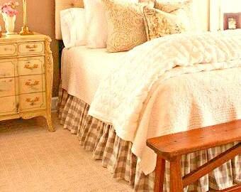 Beige Buffalo Check Skirt - Buffalo Check Bed Skirt - Buffalo Check Bed Valance - Country Bedskirt - Buffalo Check Dust Ruffle  - King Size