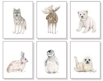 Arctic Nursery Art Polar Nursery Art Neutral Nursery Art Prints Arctic Animal Watercolor Polar Bear Penguin Seal Bunny Wolf Moose Set of 6.