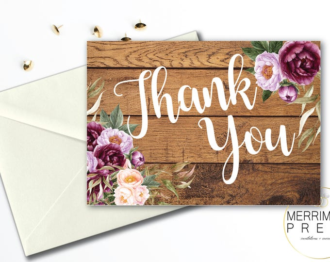 Burgundy Folded Thank You Card // Folded Thank You // Purple // Gray // Wood // Rustic //  Watercolor // Printed // FLORENCE COLLECTION
