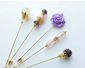 15% OFF SALE Royal Princess  Purple Hijab Pins Set- Stick Pins / Hat Pins / Decorative Pins / Eid Gifts / Bridal Gifts / Purple Hijab Pins /