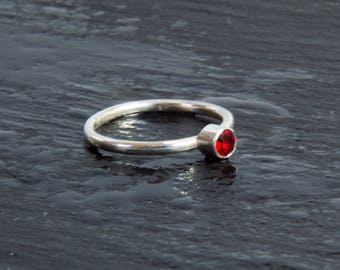Vintage Ruby Swarovski Crystal & Sterling Silver Stacker Ring