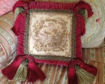 Beautiful vintage ruche velvet tapestry, metallic braid, extravagant tassels boudoir pillow cushion~ fabulous design