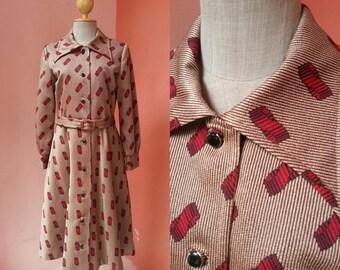 Dress Coat 80s Dress 1980s Dress Shirt Dress Secretary Dress Summer Dress Vintage Day Dress Brown Dress Print Dress Long Sleeve Dress Size M