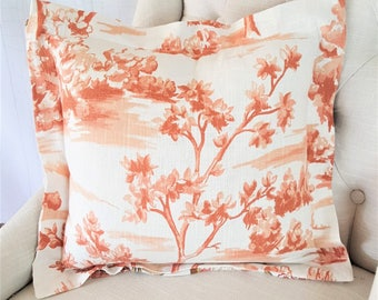 Orange Designer Pillow Covers With Flange, 24x24 Pillow Covers, 22x22, 18x18, 16x16, 20x20, 26x26, Lumbar, Accent Throw Covers