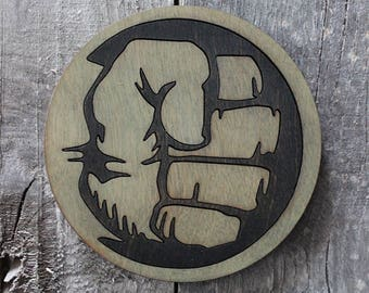 Hulk Wood Coaster (Black) | Rustic/Vintage | Hand Stained and Glued | Comic Book Gift