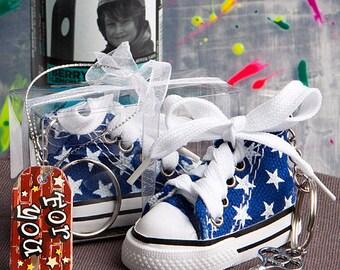Oh-So-Cute Blue Star Print Baby Sneaker Key Chain - Baby Boy Shower Favor 36-144 Qty  6135