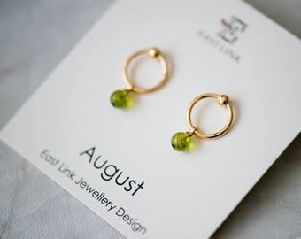 14K gold plated natural stones August Birthstone olive green stud drop earrings hoop birthday gift