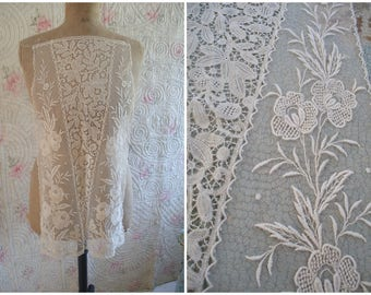 Large antique lace dress panel