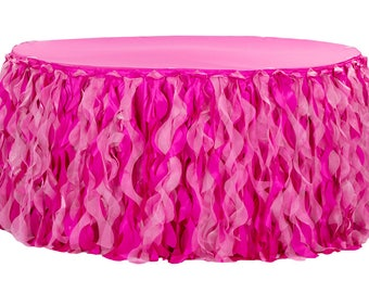 Fuchsia Curly Willow Table Skirts, Ruffled Table Skirt, Cake Table, Head Table, Romantic Table Skirt, Dessert Table