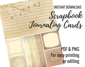 Printable Journaling Cards for Scrapbooking -- Vintage Design