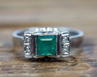 1940's 14k White Gold .54 ctw Natural Emerald and Diamond Ring