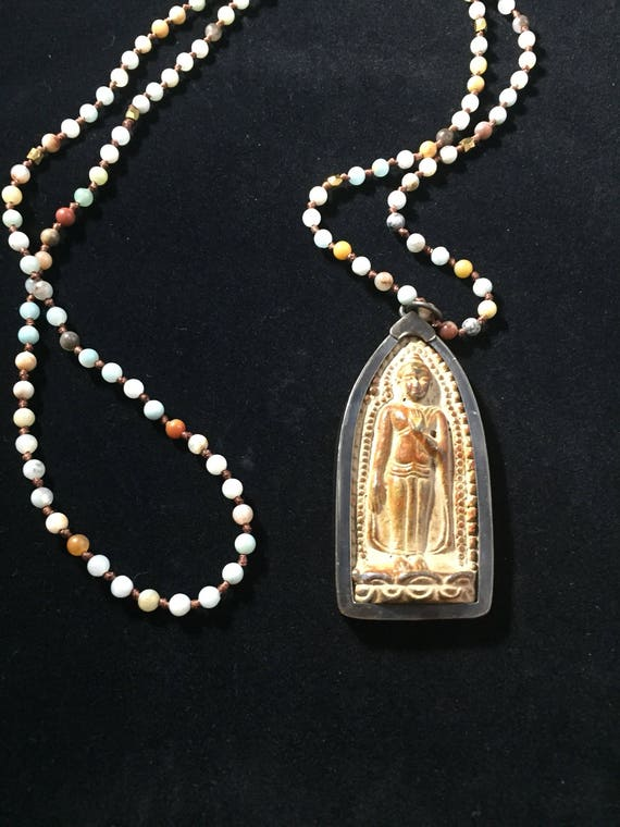 Carved Stone Buddha Pendant Antique Prayer Bead Mala Amonazite & Jasper Beaded Necklace Gift for Him or Her