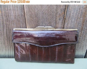 Sale 1980s Eelskin Wallet Eel Skin Clutch Bag Purse Handbag Dark Brown 80s VIntage