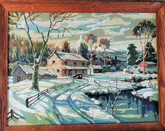 Vintage Paint by Number -Extra Large size snowy landscape - 24 X 18